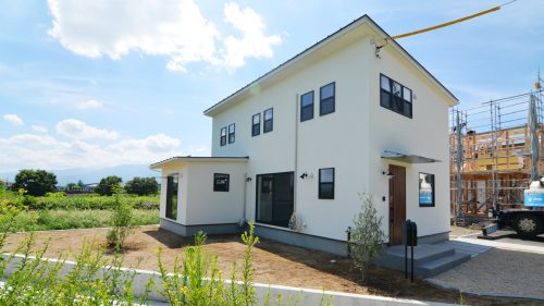 インダストリアルデザインとかわいいが融合したお家 漆喰塗り壁の外観1