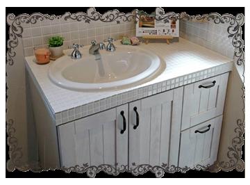 モザイクタイル貼りのかわいい洗面台