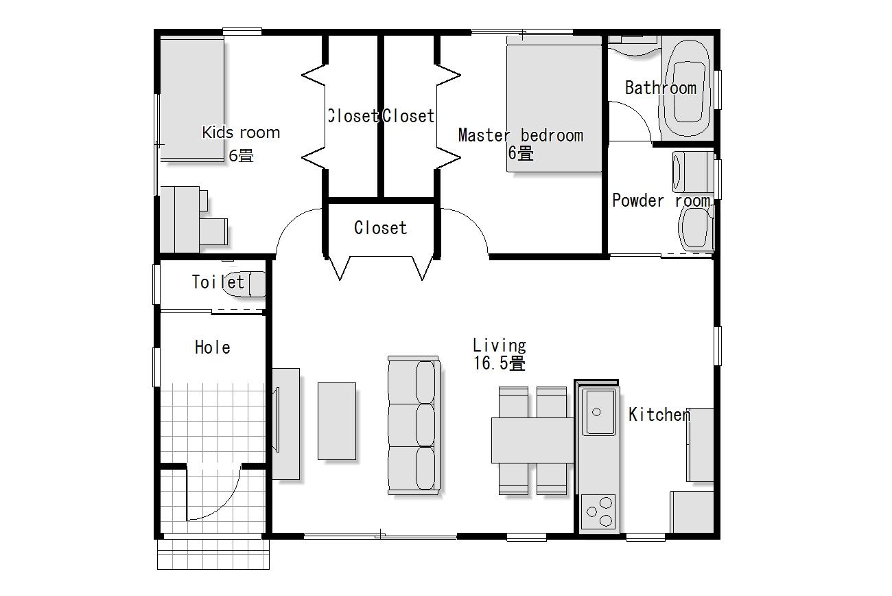 かわいい家のローコスト平屋住宅 フラットハウス-1 1階間取り図