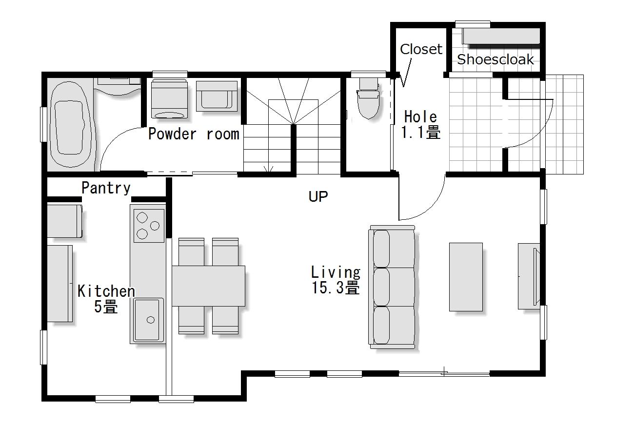かわいい家のローコスト住宅 フローレンス-1 1階間取り図