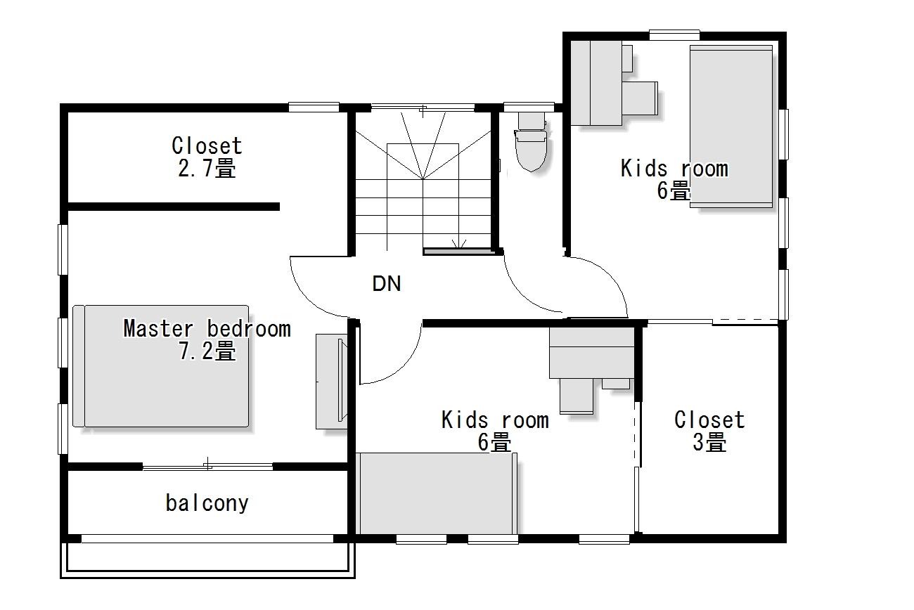 かわいい家のローコスト住宅 フローレンス-1 2階間取り図