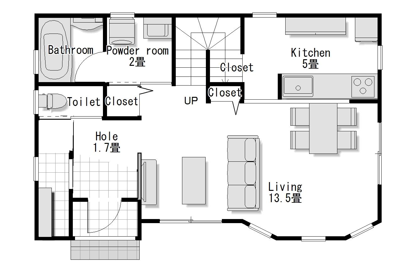 かわいい家は塗り壁のローコスト住宅 フローレンス-2 1階間取り図