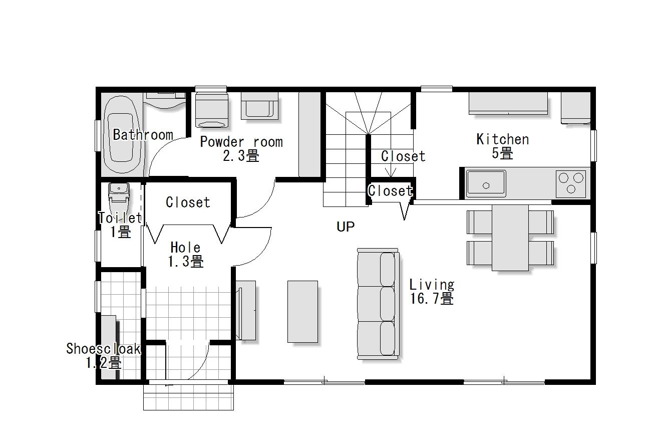 かわいい家のローコスト住宅 フローレンス-3 1階間取り図