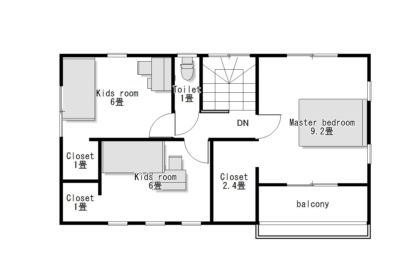 かわいい家のローコスト住宅 フローレンス-3 2階間取り図