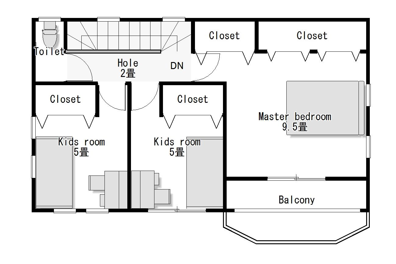 かわいい家は塗り壁のローコスト住宅 フローレンス-4 2階間取り図