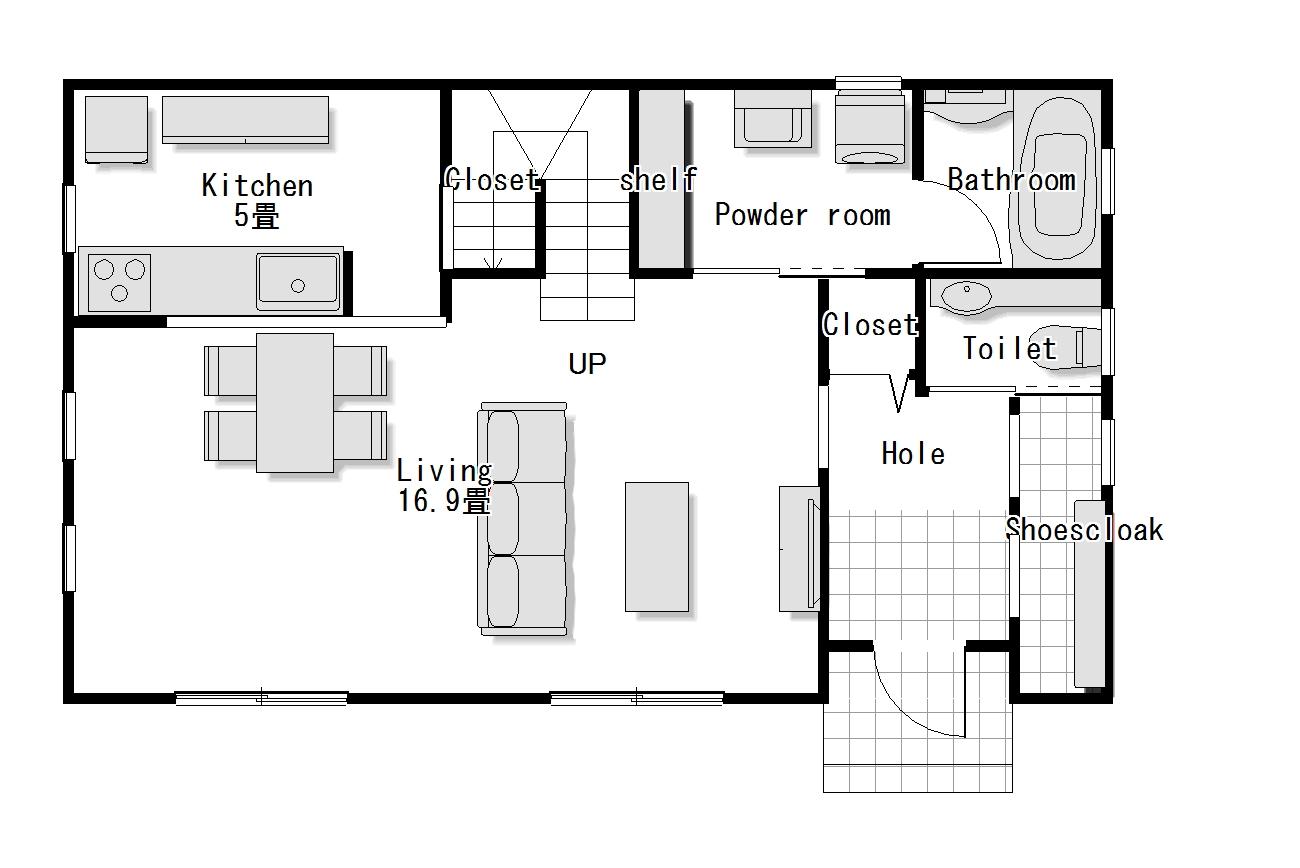 かわいい家のローコスト住宅 フローレンス-5 1階間取り図