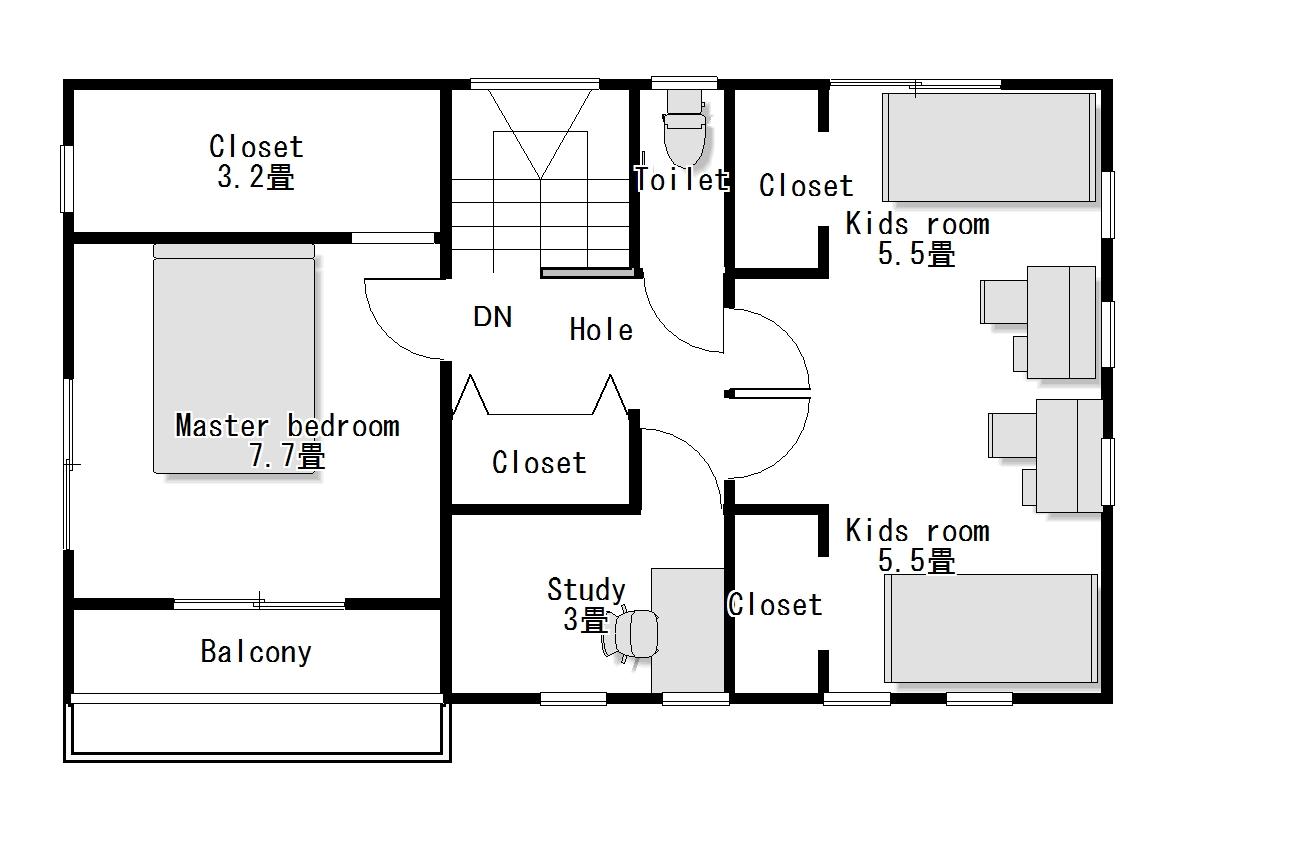かわいい家のローコスト住宅 フローレンス-5 2階間取り図