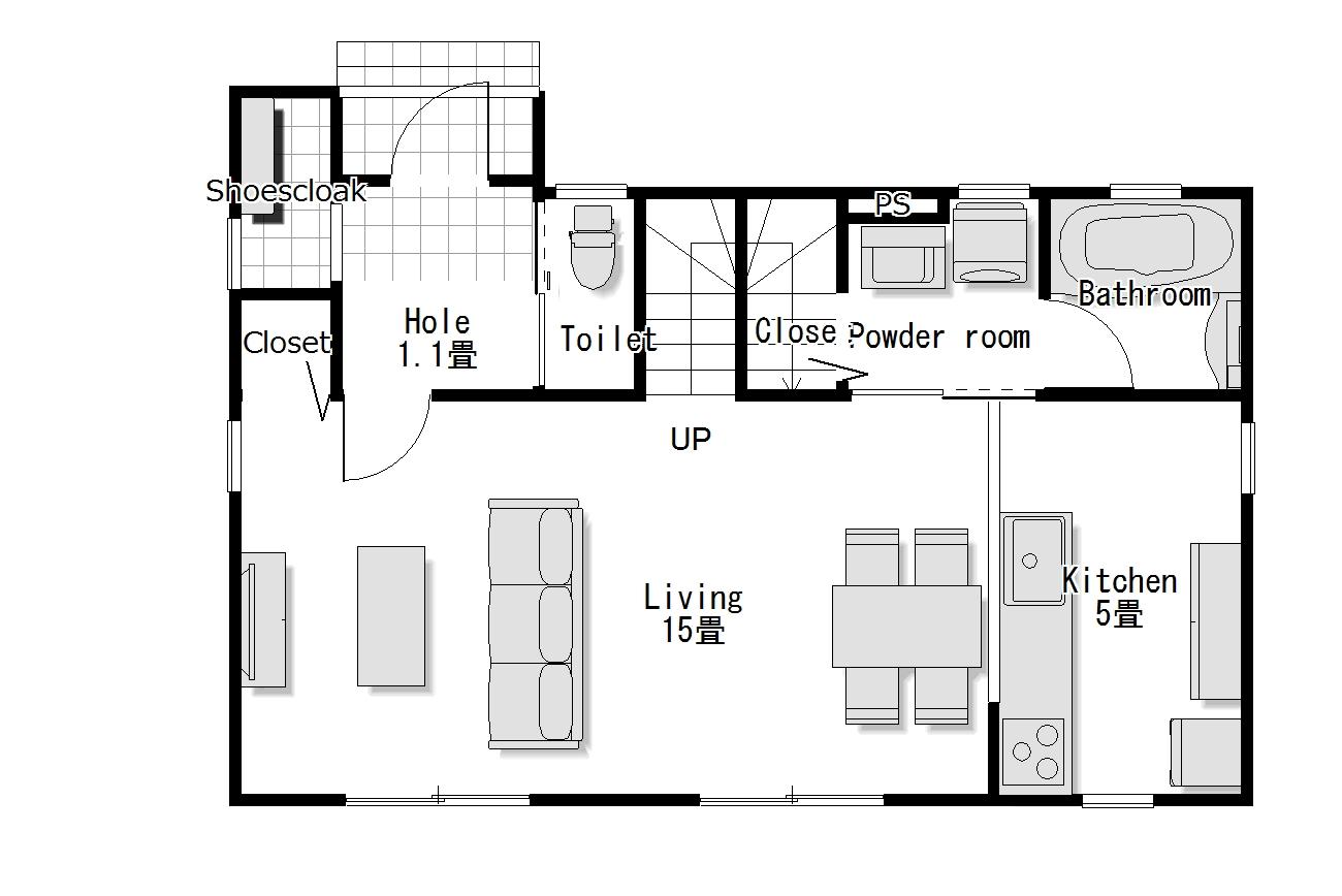 かわいい家は塗り壁のローコスト住宅 フローレンス-6 1階間取り図