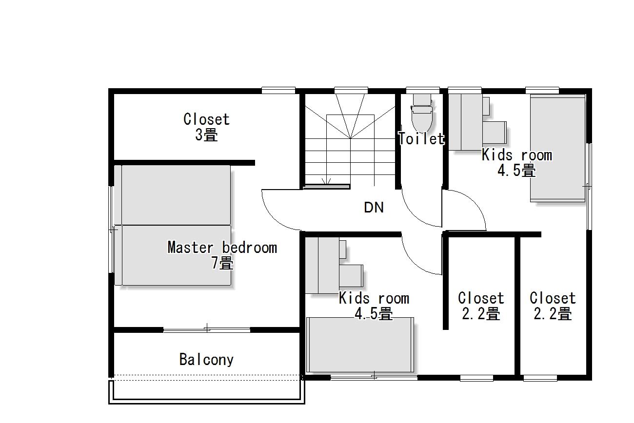 かわいい家は塗り壁のローコスト住宅 フローレンス-6 2階間取り図