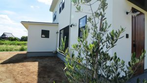 インダストリアルデザインとかわいいが融合したお家 漆喰塗り壁の外観2